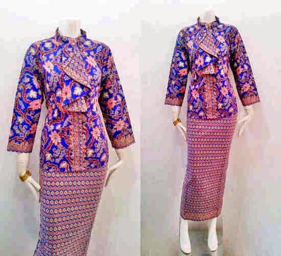 Model Baju Batik Pramugari Motif Mawar - Batik Bagoes Solo