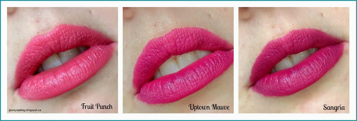 Milani Color Statement Lipsticks, Fruit Punch, Uptown Mauve and Sangria, Review and Swatches