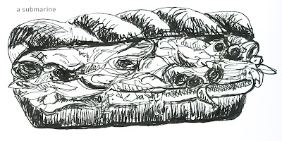 642 Things to Draw 39 - A Submarine Sandwich - Pen and Ink by Ana Tirolese ©2012