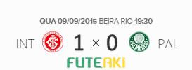 O placar de Internacional 1x0 Palmeiras pela 24ª rodada do Brasileirão 2015