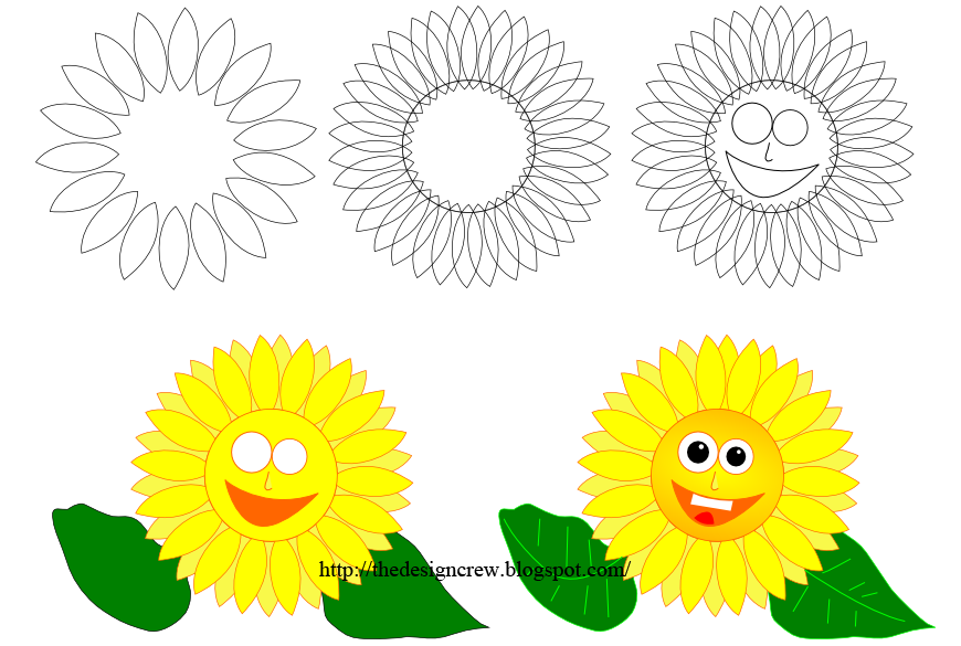How to Draw Cartoon Sunflower