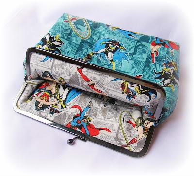 image two cheeky monkeys girl power kisslock frame purse clutch batgirl superwoman supergirl wonder woman camelot fabrics
