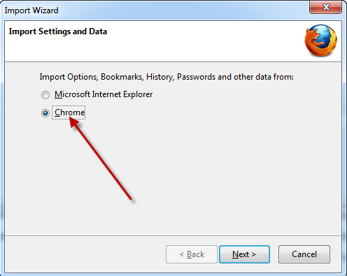 Import from Chrome in Firefox 11