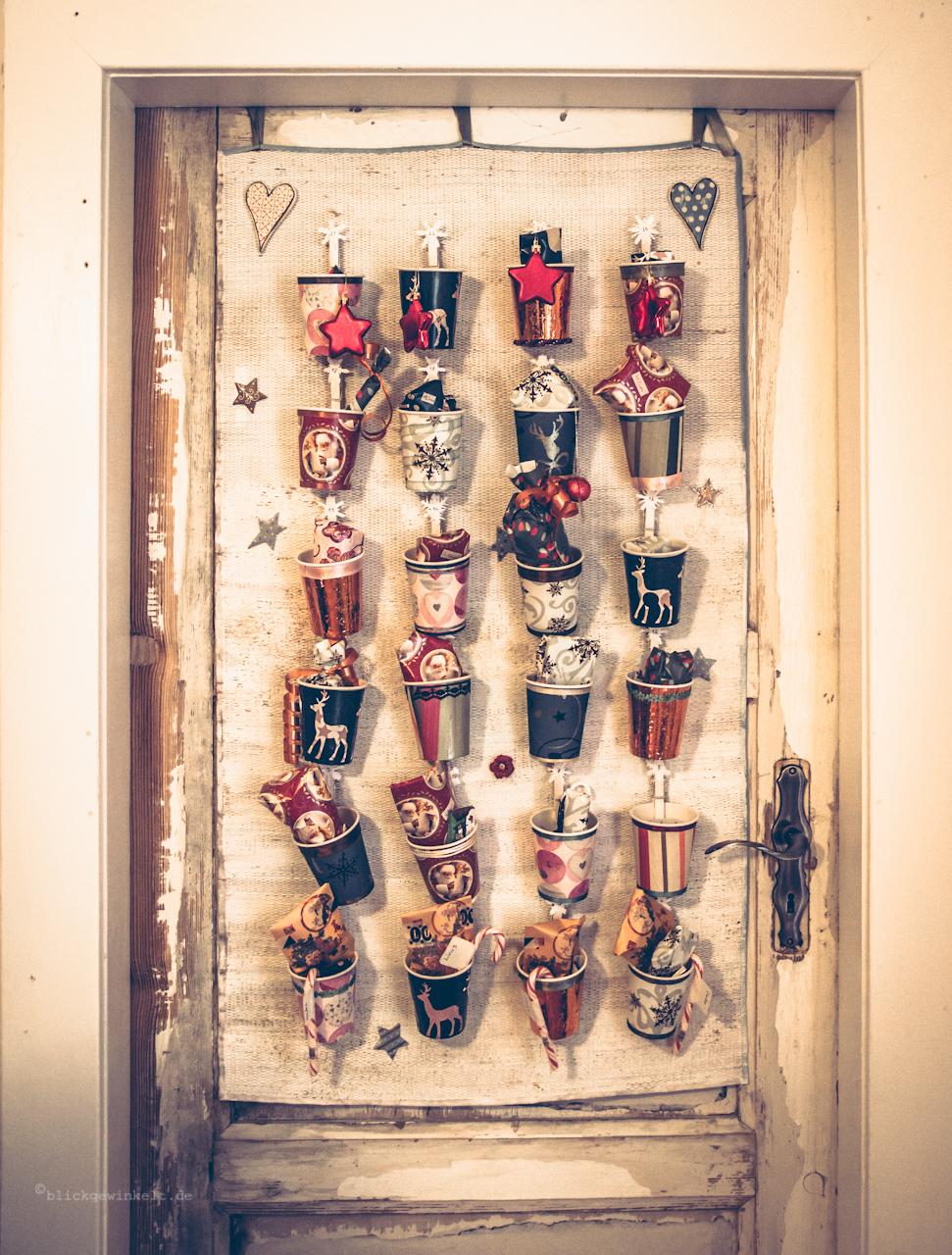 selbstgebastelter Adventskalender für die Tür