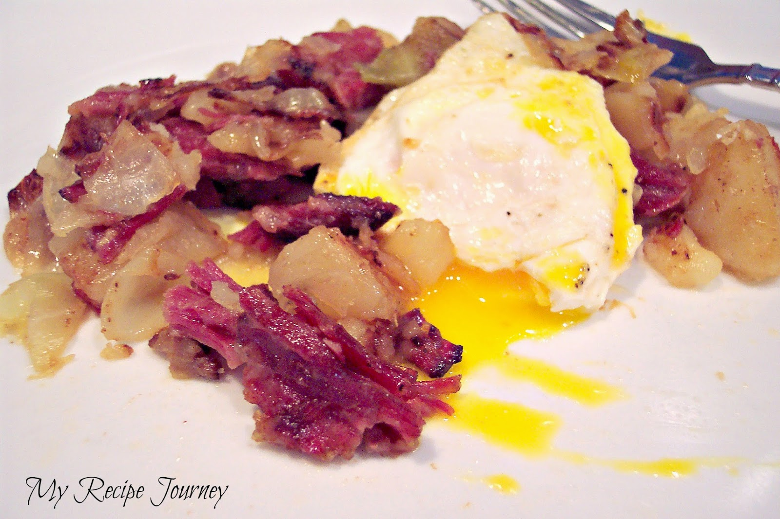 Corned Beef Hash Served with Fried Eggs