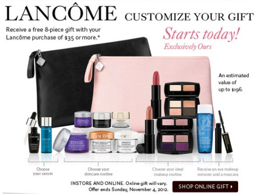 The Bay's Lancome Free Gift With Purchase promotion starts today! With any Lancome purchase of $35 or more you can get this 8 piece gift (estimated value of ...