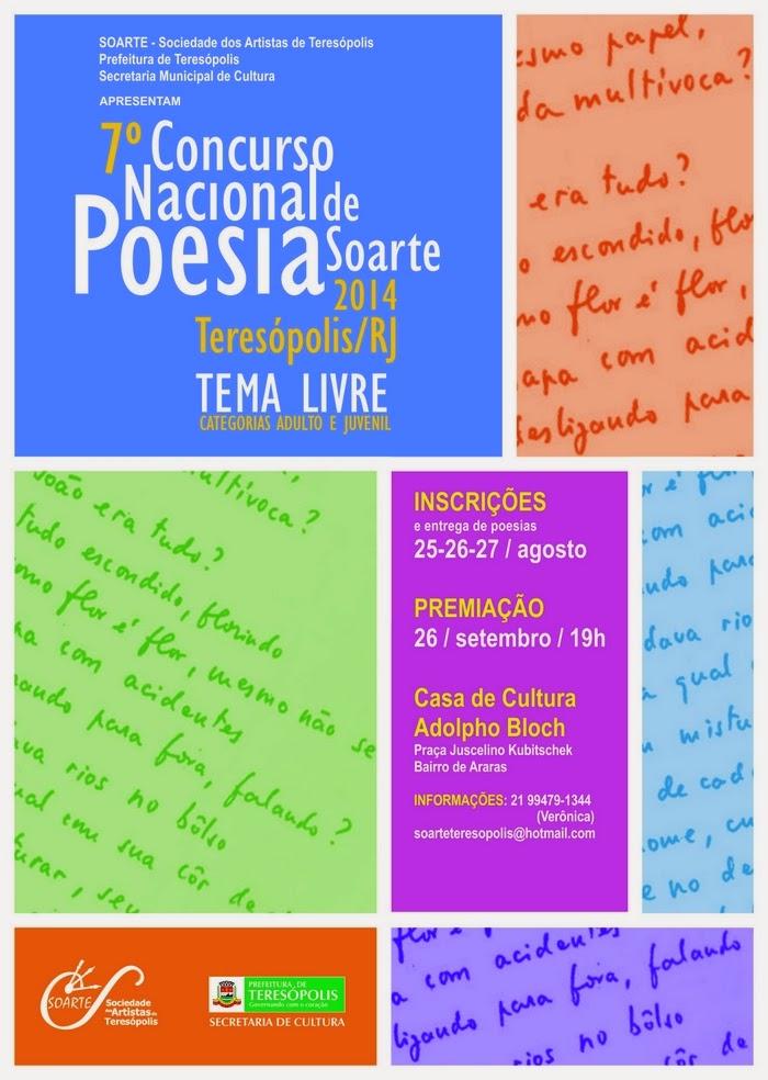 Soarte promove 7º Concurso Nacional de Poesia de Teresópolis