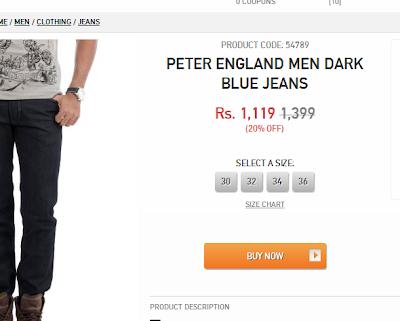 Myntra Size System jeans peter england 1k 1000