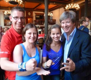 The 'wildcard' team from San Marino at the 2012 International Rock Paper Scissors Championships in London. From l-r Richard Gottfried, Emily Gottfried, Sophie Barry, Dave Barry