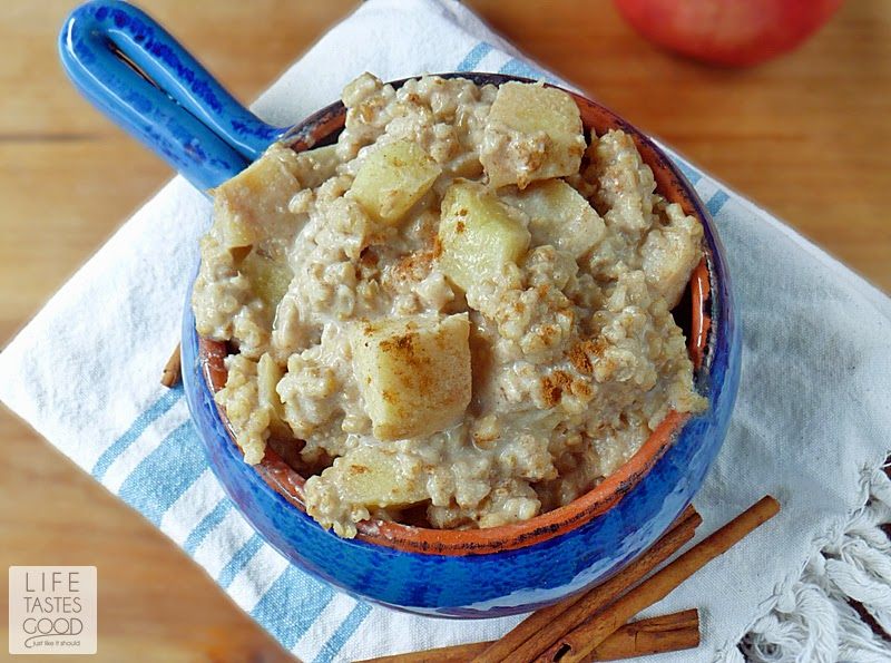 Slow Cooked Apple Pie Oatmeal   by Life Tastes Good is a comforting mix of apples, steel cut oats, milk, cinnamon, and a touch of brown sugar. #SundaySupper #SlowCooker