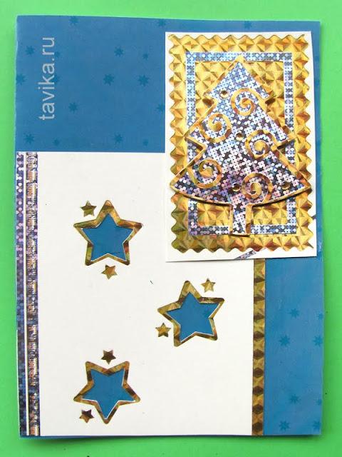 открытки на новый год - вторичное использование упаковки