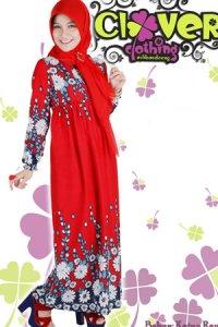 Clover Clothing Gamis Erika - Red (Toko Jilbab dan Busana Muslimah Terbaru)