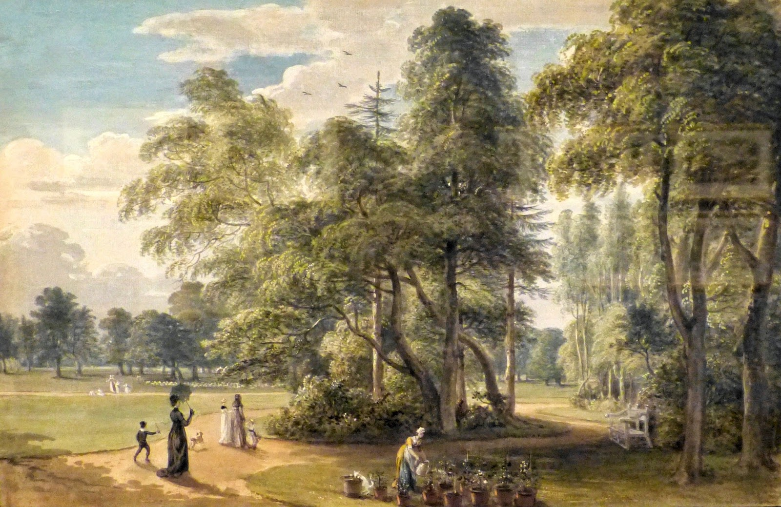 The garden of the deputy ranger's lodge, Windsor Great Park  by Paul Sandby (c1798)