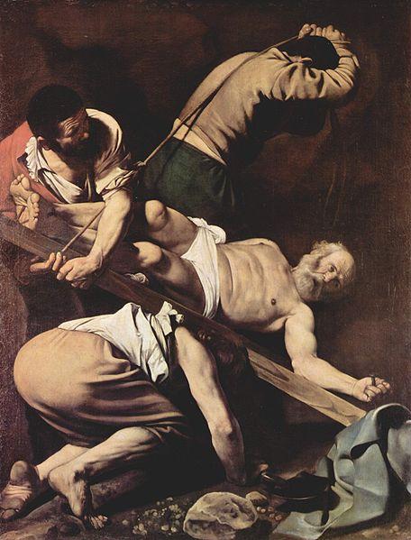La Crucifixión de Pedro, de Caravaggio, lo representa con la cabeza hacia abajo, de acuerdo con la tradición
