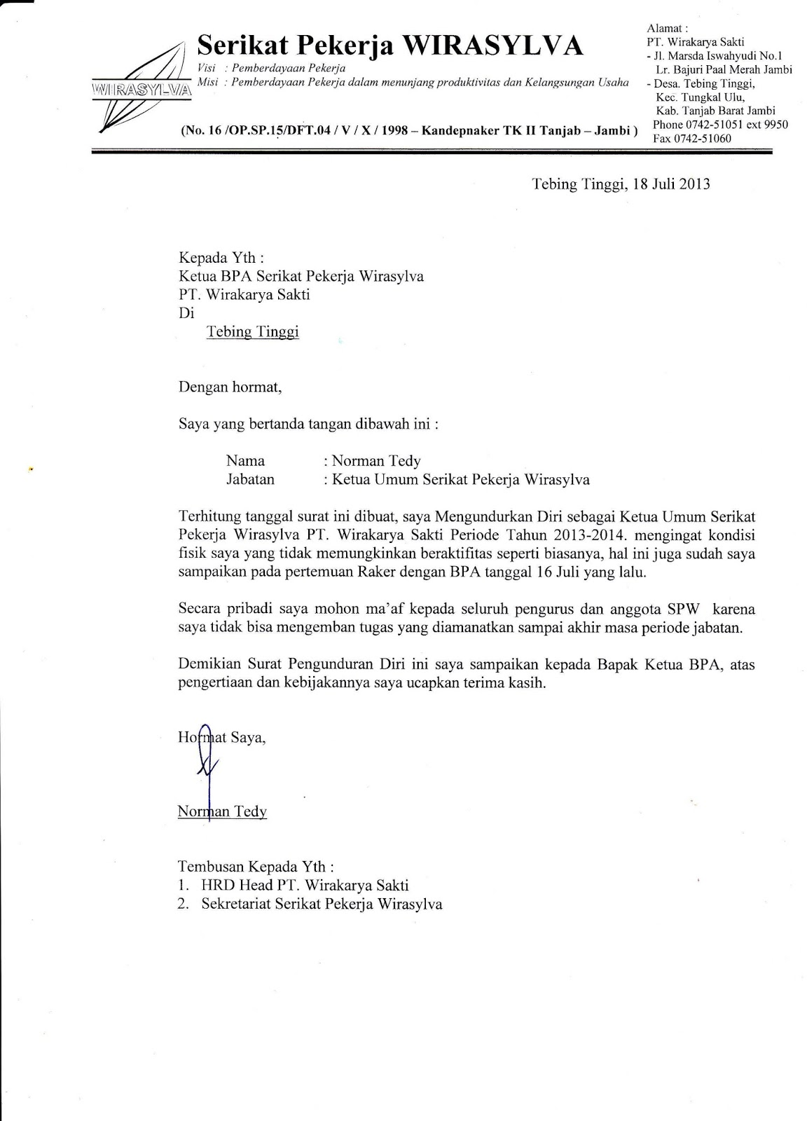 Contoh Surat Pengunduran Diri Dari Organisasi Serikat Pekerja Contoh Surat
