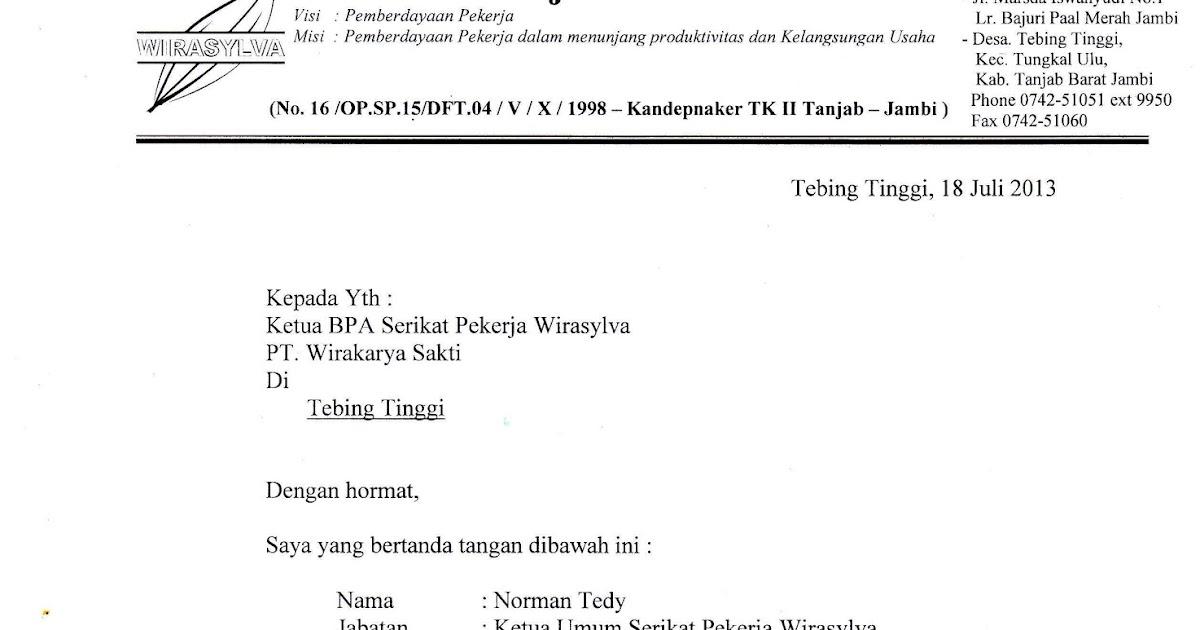 Serikat Pekerja Wirasylva Surat Pengunduran Diri Ketum Spw Sdr