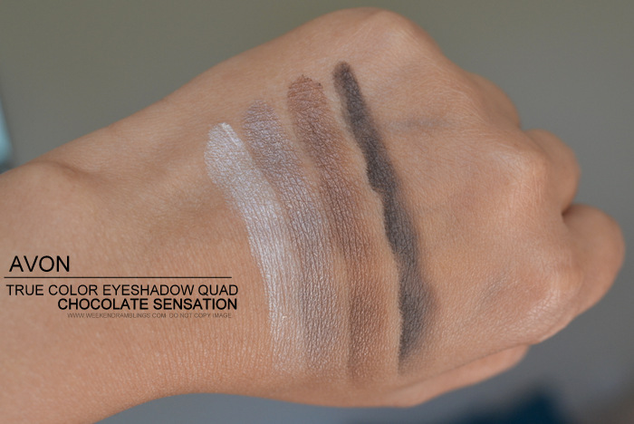 Avon True Color Eyeshadow Quad Chocolate Sensation Swatches Review FOTD Photos Indian Beauty Makeup Blog