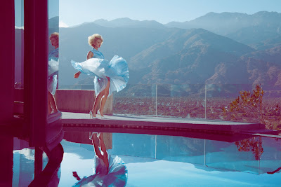 marilyn monroe pose, model with dress blowing, palm springs