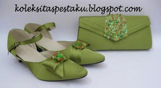 Paket Matching Ijo Seger Tas Pesta Sepatu Mewah Elegant