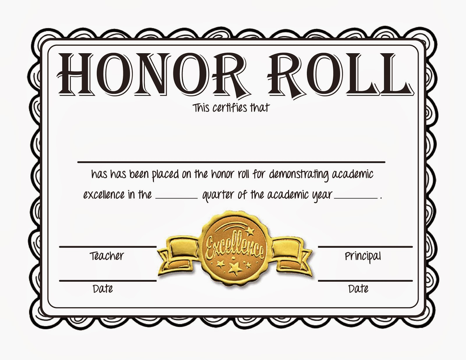 printable honor roll certificates