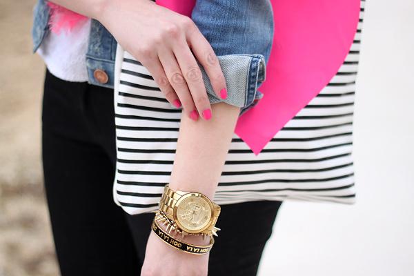 Michael Kors Oversized Gold Watch, Ban.do Heart Striped Tote, Kate Spade Bangle