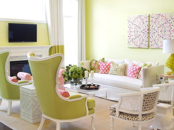 Apple Green and White Living Room
