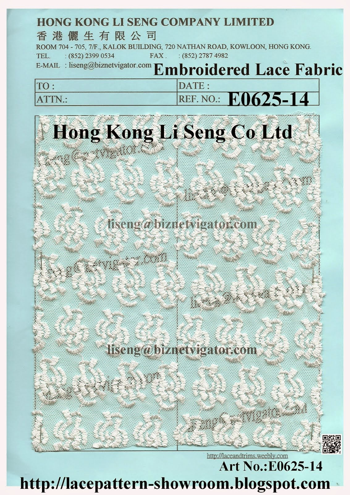 Embroidered Net Lace Fabric Manufacturer Wholesale Supplier - Hong Kong Li Seng Co Ltd