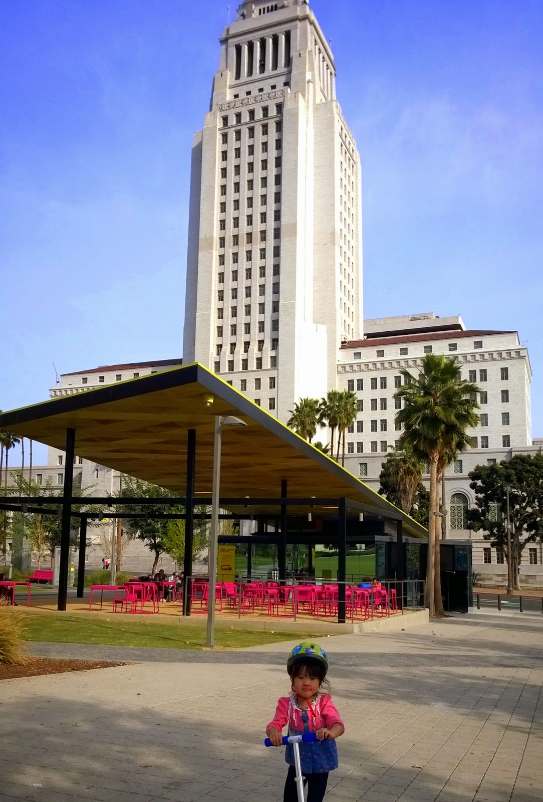 Grand Park and City Hall in downtown, L.A.