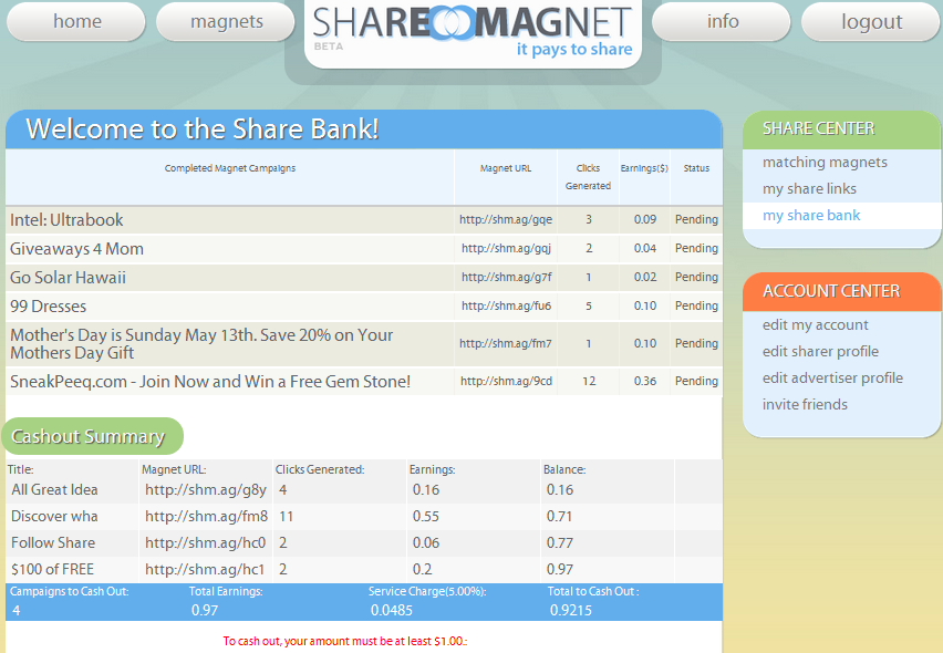 SHARE MAGNET (EMAIL ADDRESS NEEDED TO SEND YOU A REFERRAL LINK)
