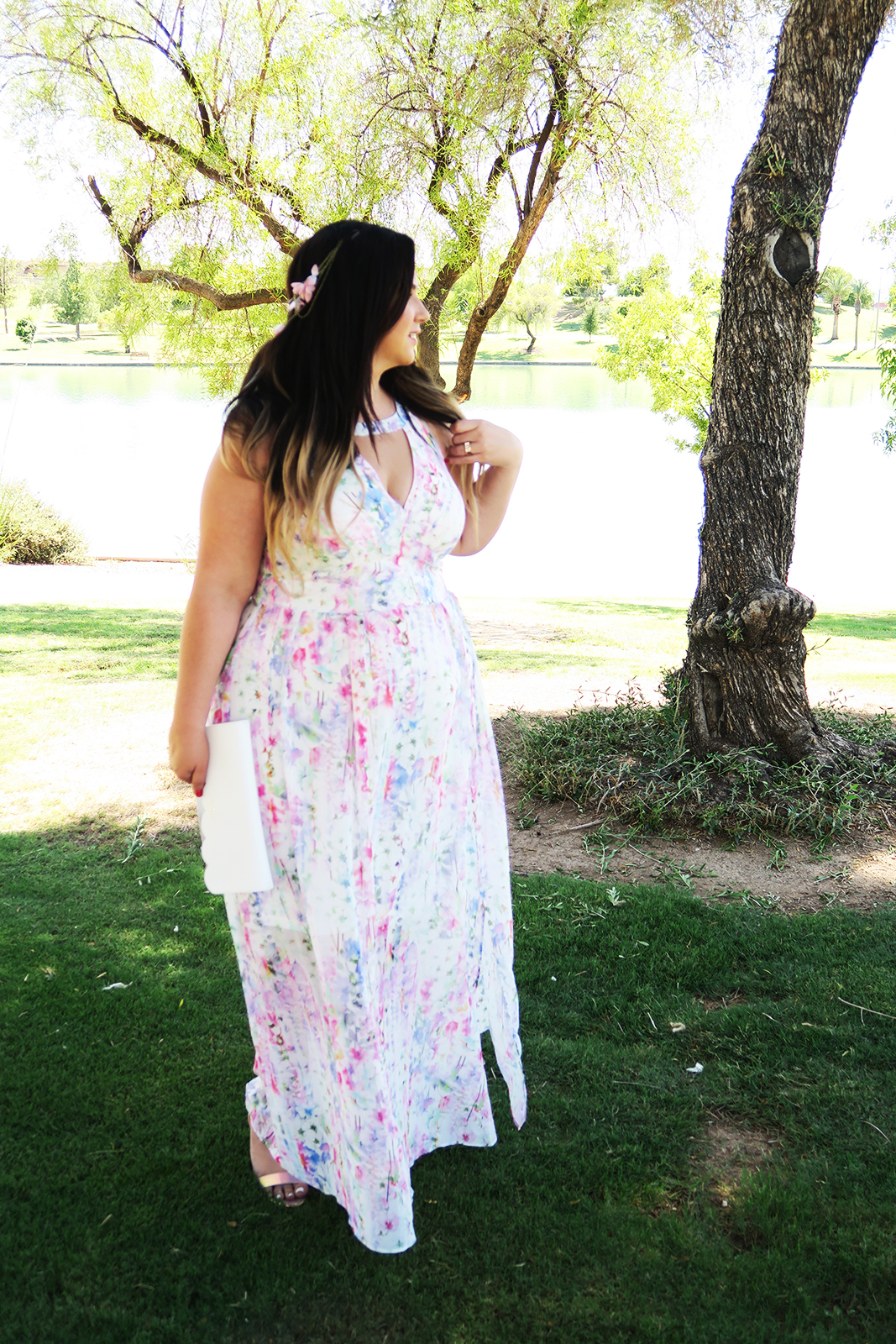 Dress code for wedding garden party -  Garden Party Chic Dress Code A Dreamy Watercolor Floral Maxi Is The Perfect Option For This Typically Outdoor Wedding I Went With A Barely There
