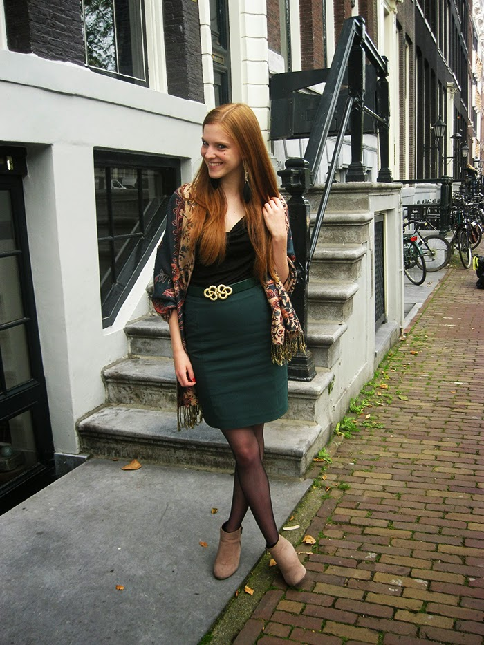 Blogger outfit ginger green pashmina waterfall top Primark