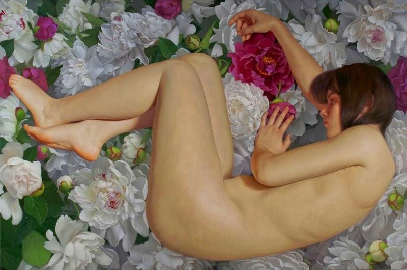 pinturas-de-mujeres-con-flores