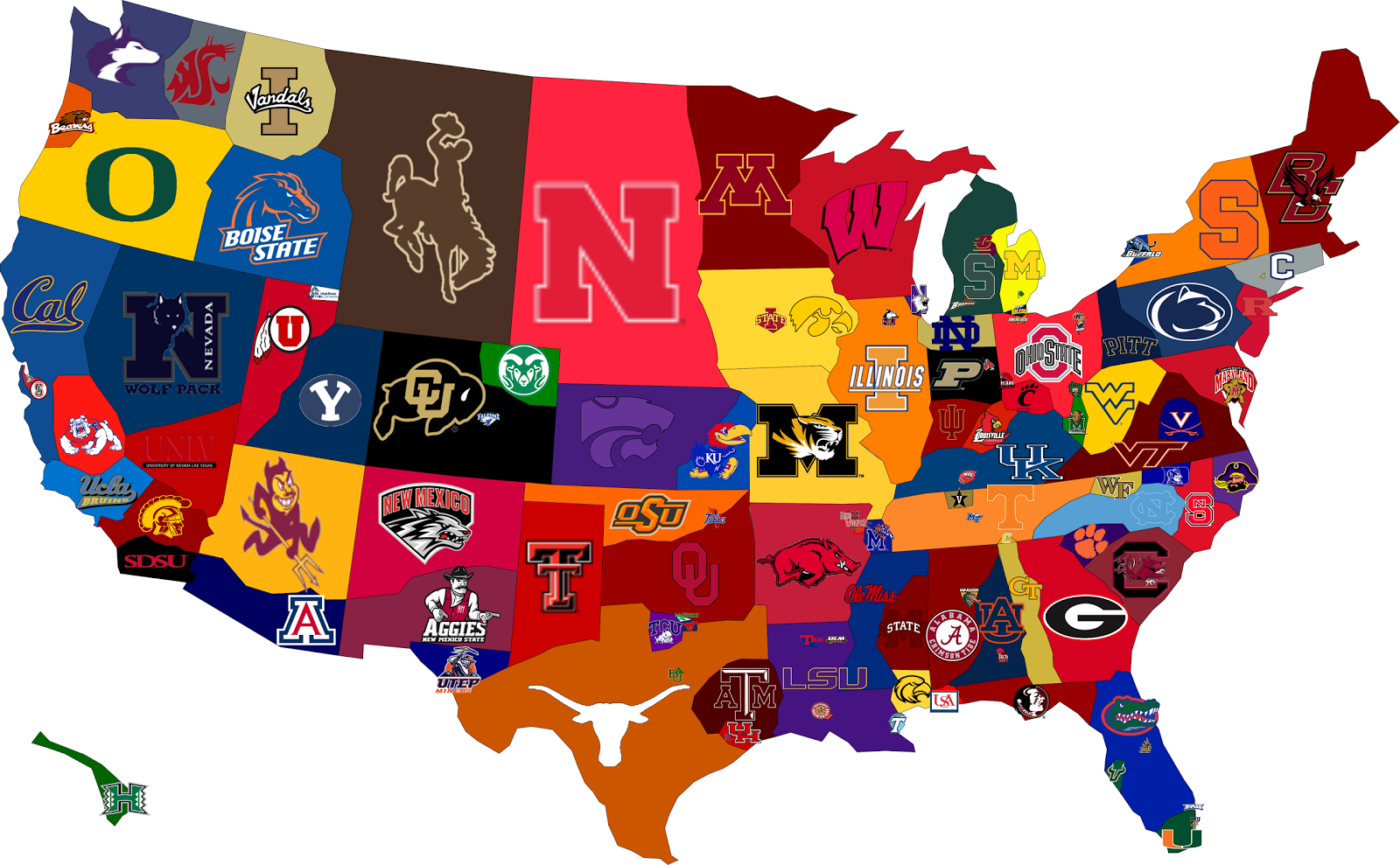 My Ideas: College Football Map: Part II