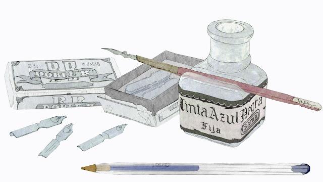 Tintero y pluma, boligrabo , BIC, dibujo