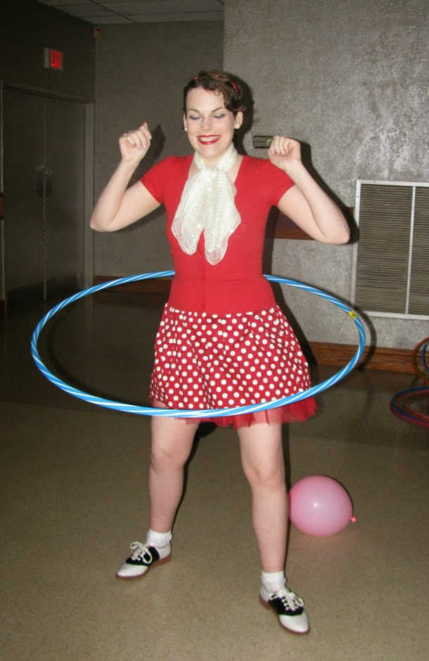 Suzanne Amlin, hula hooping girl, retro style, vintage style, red polka dot dress, saddle shoes, Modcloth style, Village of Aspen Lake 50s dinner