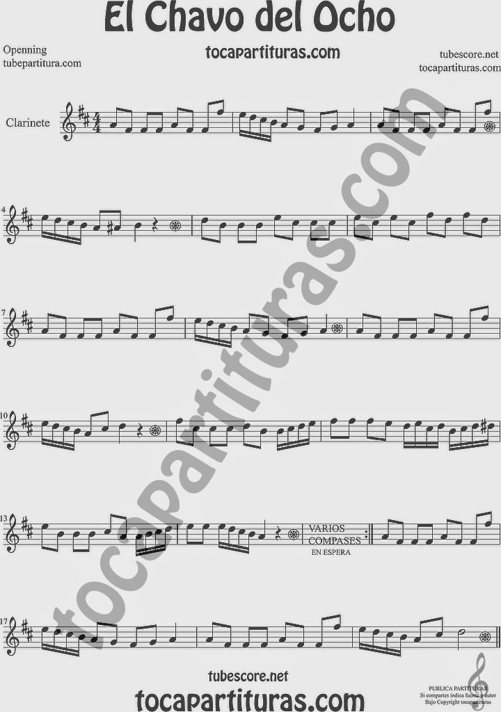 El Chavo del Ocho Partitura de Clarinete Sheet Music for Clarinet Music Score