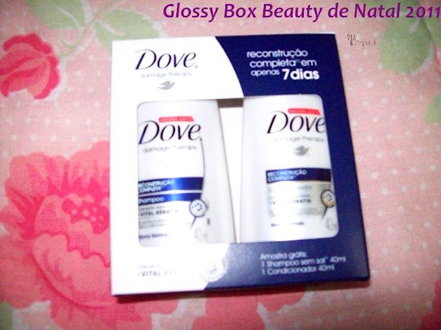 Kit reconstrução completa em miniatura Dove da Glossy Box Beauty Natal 2011