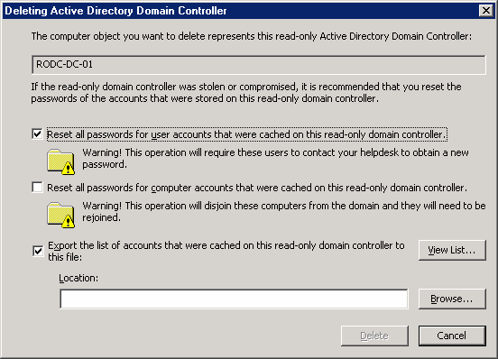 Hardware and networking rodc user accounts whose passwords must be reset after the rodc account is deleted that list of accounts is not available after the rodc account is deleted yadclub Images