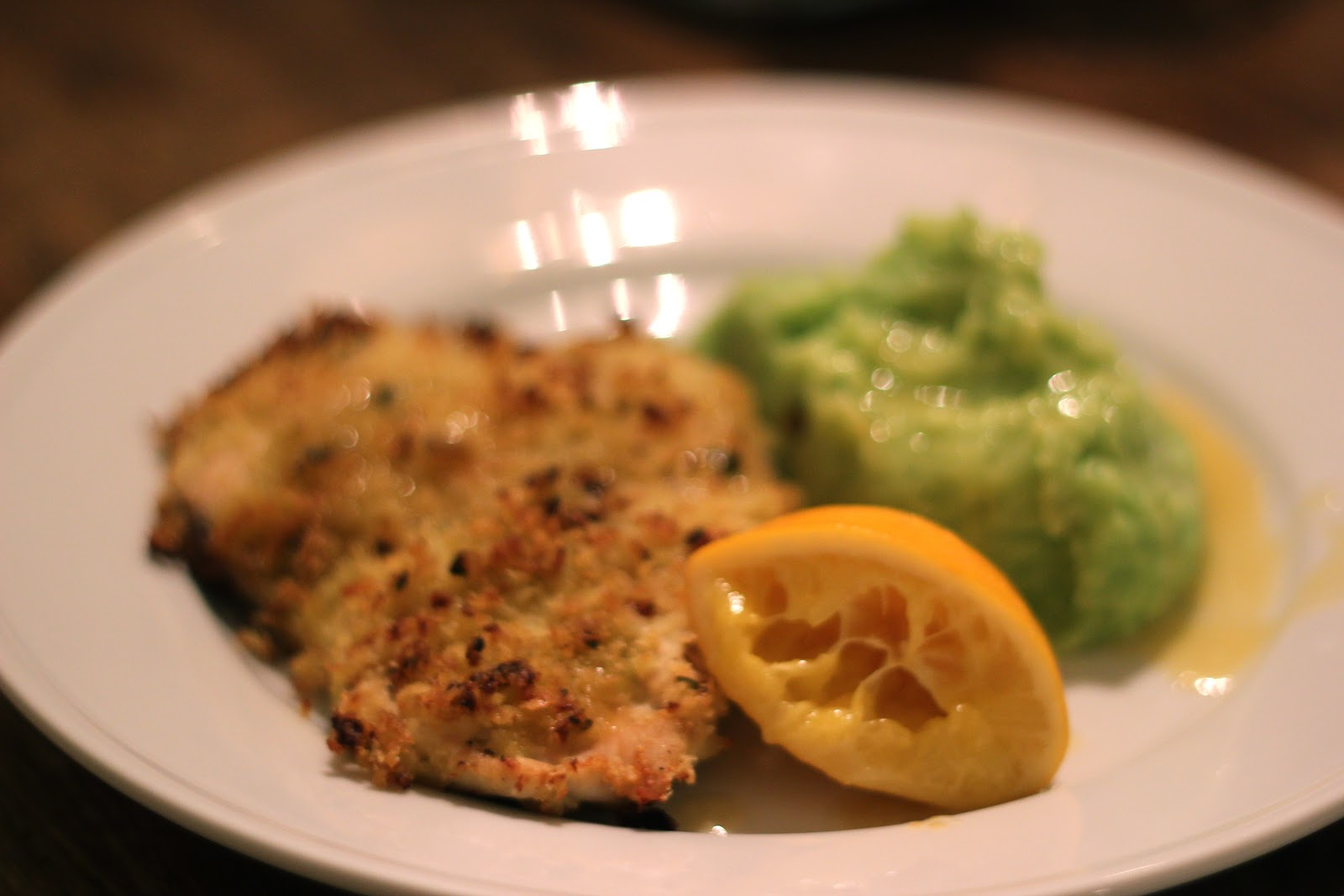 Baked Crispy Lemon Chicken with Basil Mashed Potatoes | Snapshots from ...