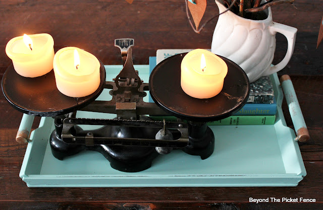 tray, centerpiece, vintage balance, candles, old books, http://bec4-beyondthepicketfence.blogspot.com/2016/01/how-to-make-centerpiece.html