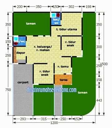 desain rumah minimalis type 70 denah