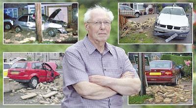WARDLE bersama gambar empat kemalangan di kawasan rumahnya.