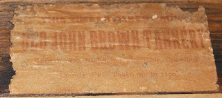 """Old John Brown Tannery"" label on underside c. 1900 John Brown tannery relic"