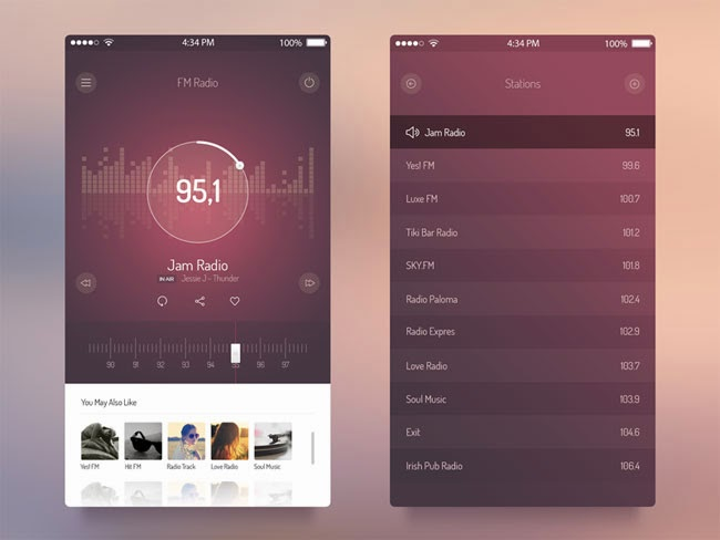 FM Radio App Screens UI for iOS 7