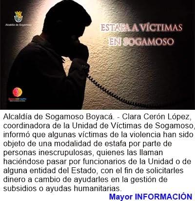 COLOMBIA: ESTAFAN A VÍCTIMAS EN SOGAMOSO