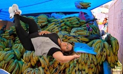 Mulher feia cai em carrinha de bananas