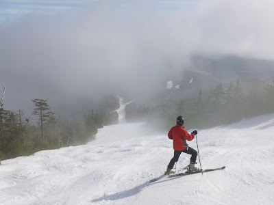 Early morning clouds clear from Lincoln Peak at Sugarbush, Vermont.   The Saratoga Skier and Hiker, first-hand accounts of adventures in the Adirondacks and beyond, and Gore Mountain ski blog.