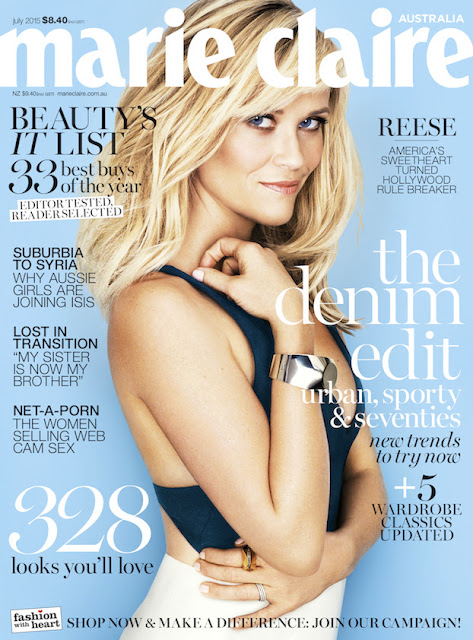 Actress @ Reese Witherspoon for Marie Claire Australia, July 2015
