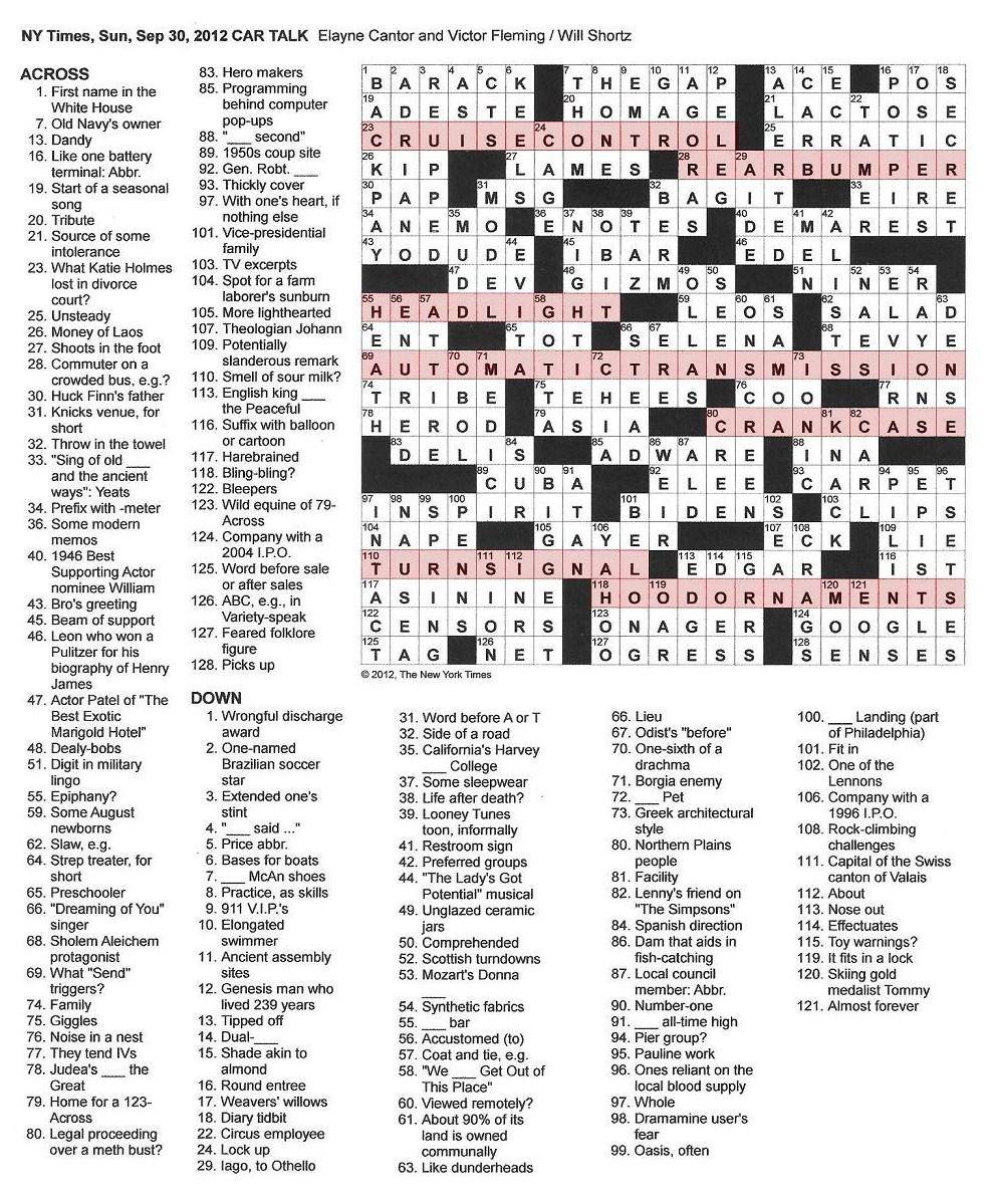 The New York Times Crossword In Gothic 093012 Car Talk