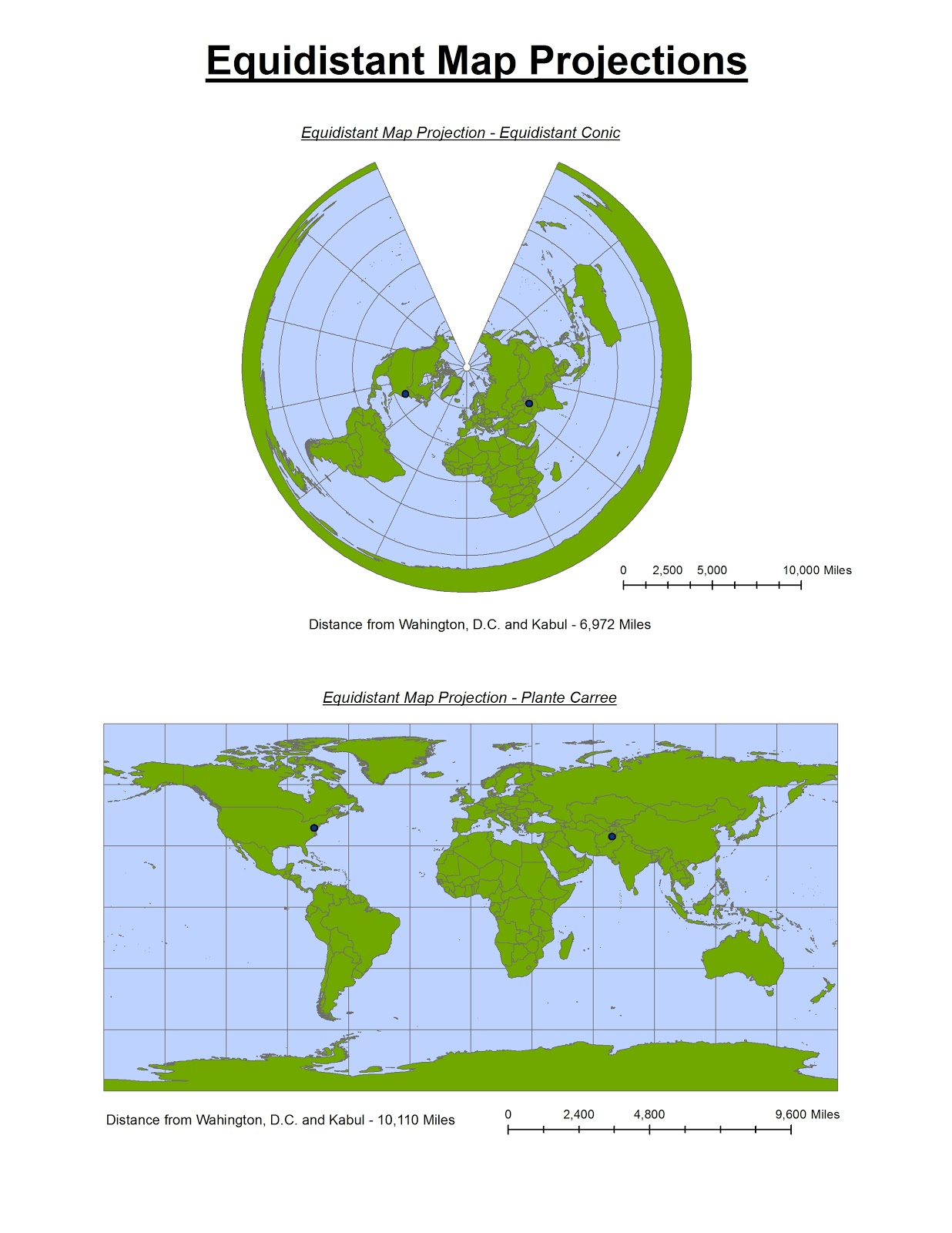 as you can see both over emphasise the area of land forms and distortions get more pronounced with latitude however equidistant maps are useful for